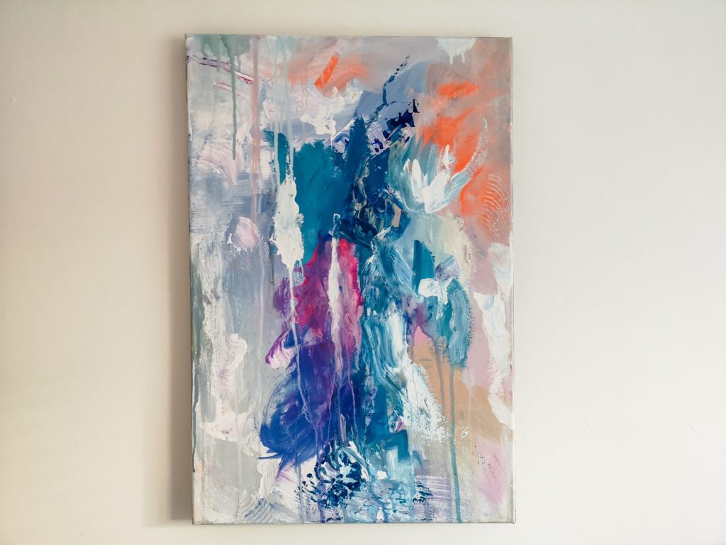 Fine art abstract blue grey and purple painting by allanisart