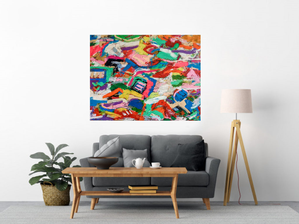 multi coloured Fine art abstract painting hanging in modern livingroom
